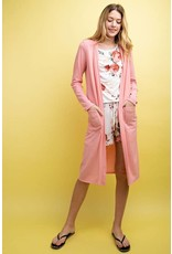 CORAL SOLID LONG LINE CARDIGAN