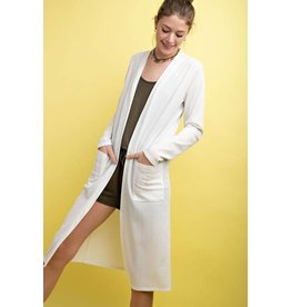 IVORY SOLID LONG LINE CARDIGAN
