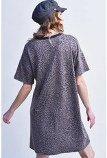 SHORT SLEEVE LEOPARD PRINT SHIRT DRESS