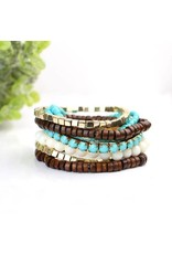 BOHO BRACELET TURQUOISE BROWN CREAM