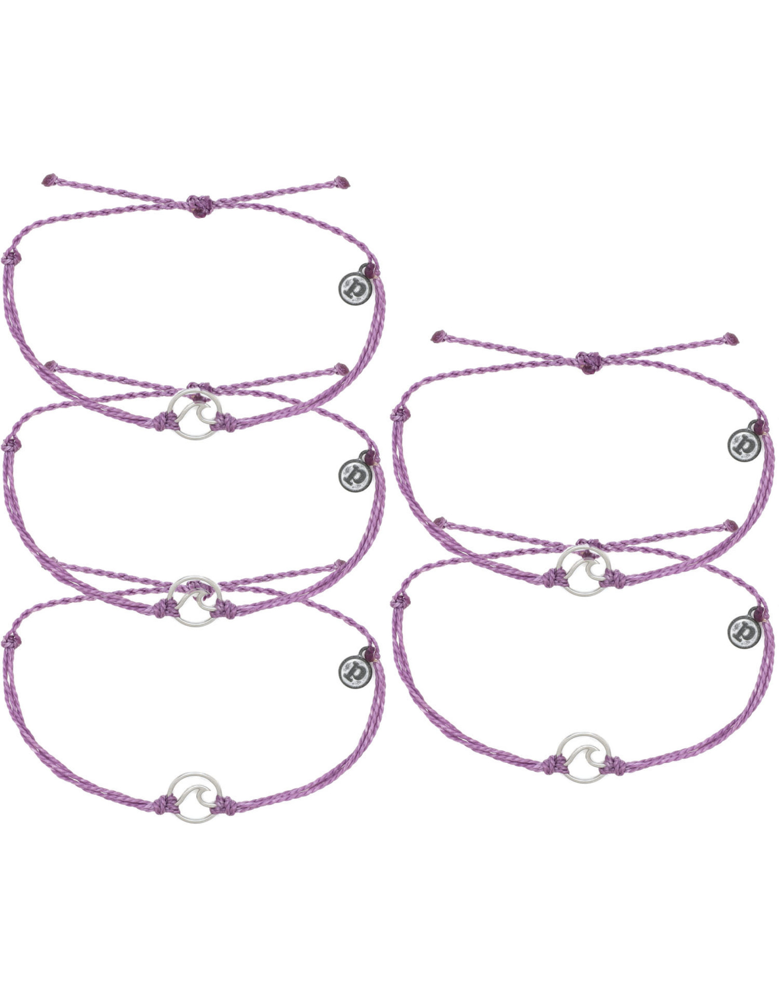 PURA VIDA BRACELETS SILVER WAVE LIGHT PURPLE