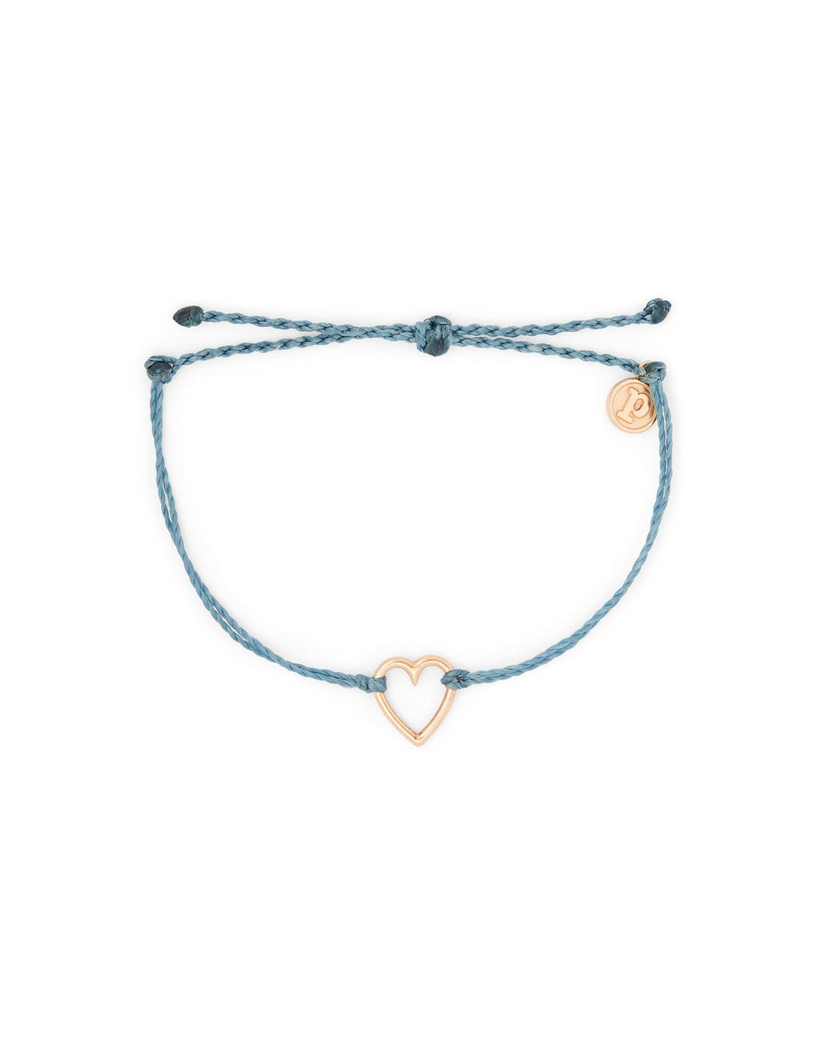 PURA VIDA BRACELET ROSE GOLD HEART DUSTY BLUE