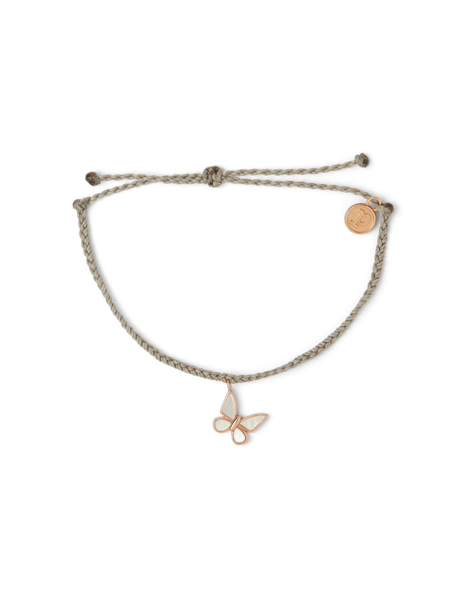 PURA VIDA BRACELET ROSE GOLD BUTTERFLY LIGHT GREY