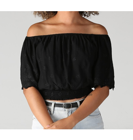 BLACK BELL SLEEVE CROPPED BLOUSE WITH CROCHET DETAIL