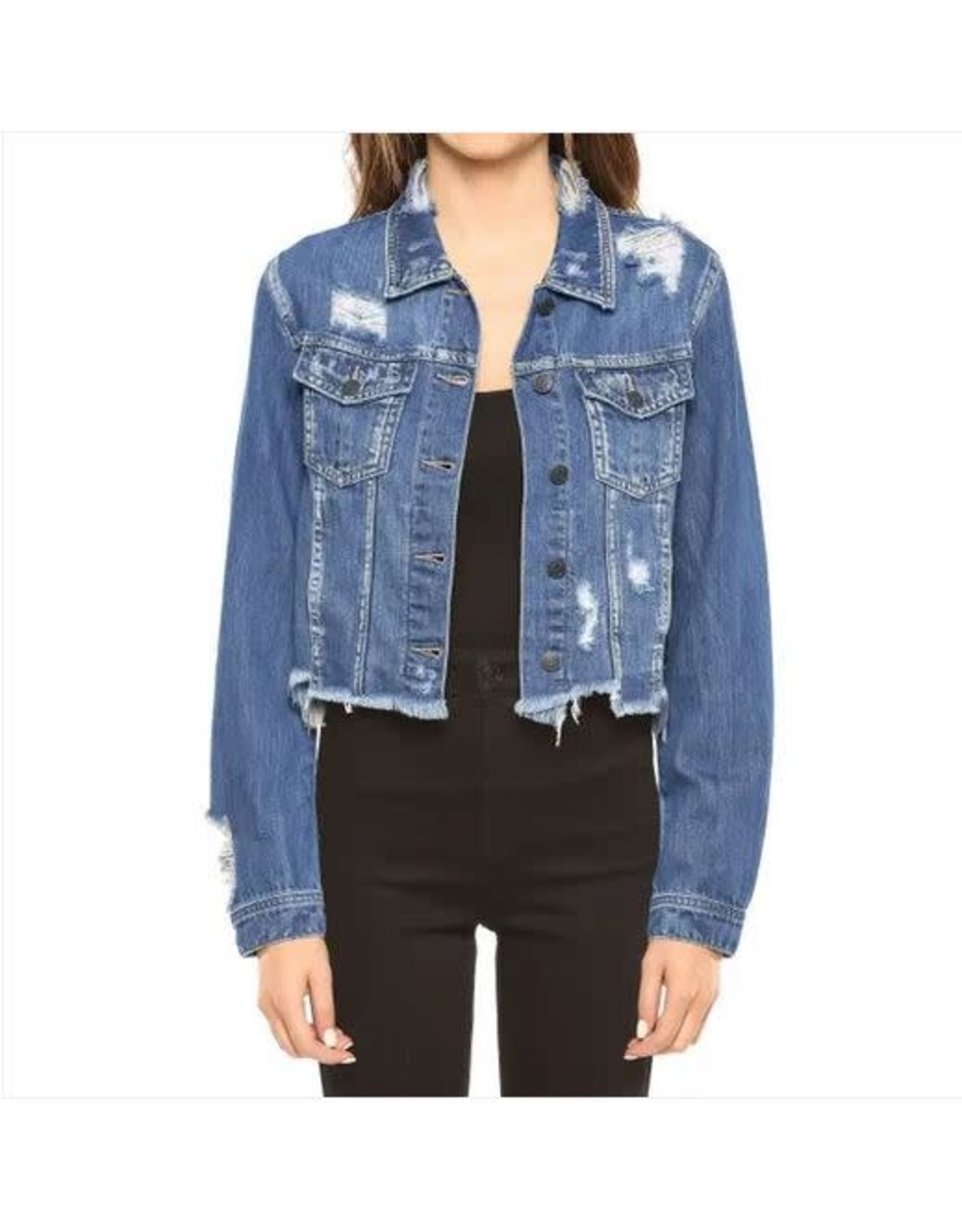 UNEVEN FRAYED MEDIUM WASH DENIM JACKET
