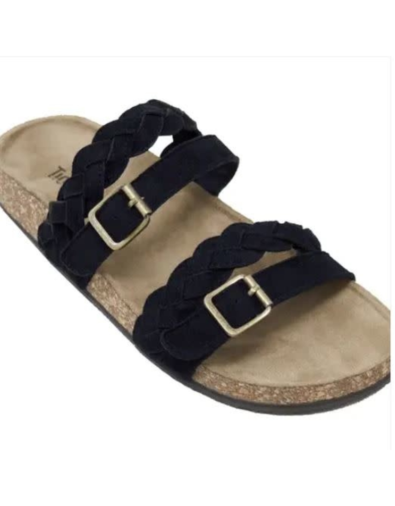 BLACK SANDBRIDGE BRAIDED STRAP SANDAL WITH BUCKLES