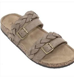 TAN SANDBRIDGE BRAIDED STRAP SANDAL WITH BUCKLES