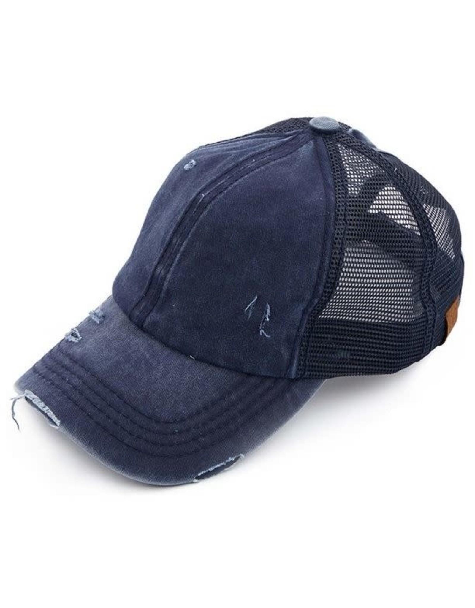 CC DISTRESSED MESH BACK PONY CAP