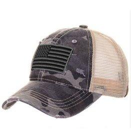 CC CAMO WITH FLAG PONY CAP