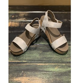 WHITE SLIDELL WEDGE SANDAL
