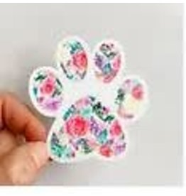 WILDFLOWER PAPER COMPANY PAW PRINT BRIGHT FLORAL STICKER