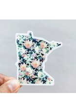 WILDFLOWER PAPER COMPANY MINNESOTA BLACK FLORAL STATE STICKER