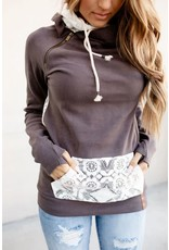 AA DOUBLE HOOD SWEATSHIRT - CHARCOAL LACE -