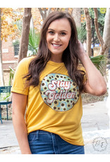 STAY GOLDEN PATCH MUSTARD CUFF TEE