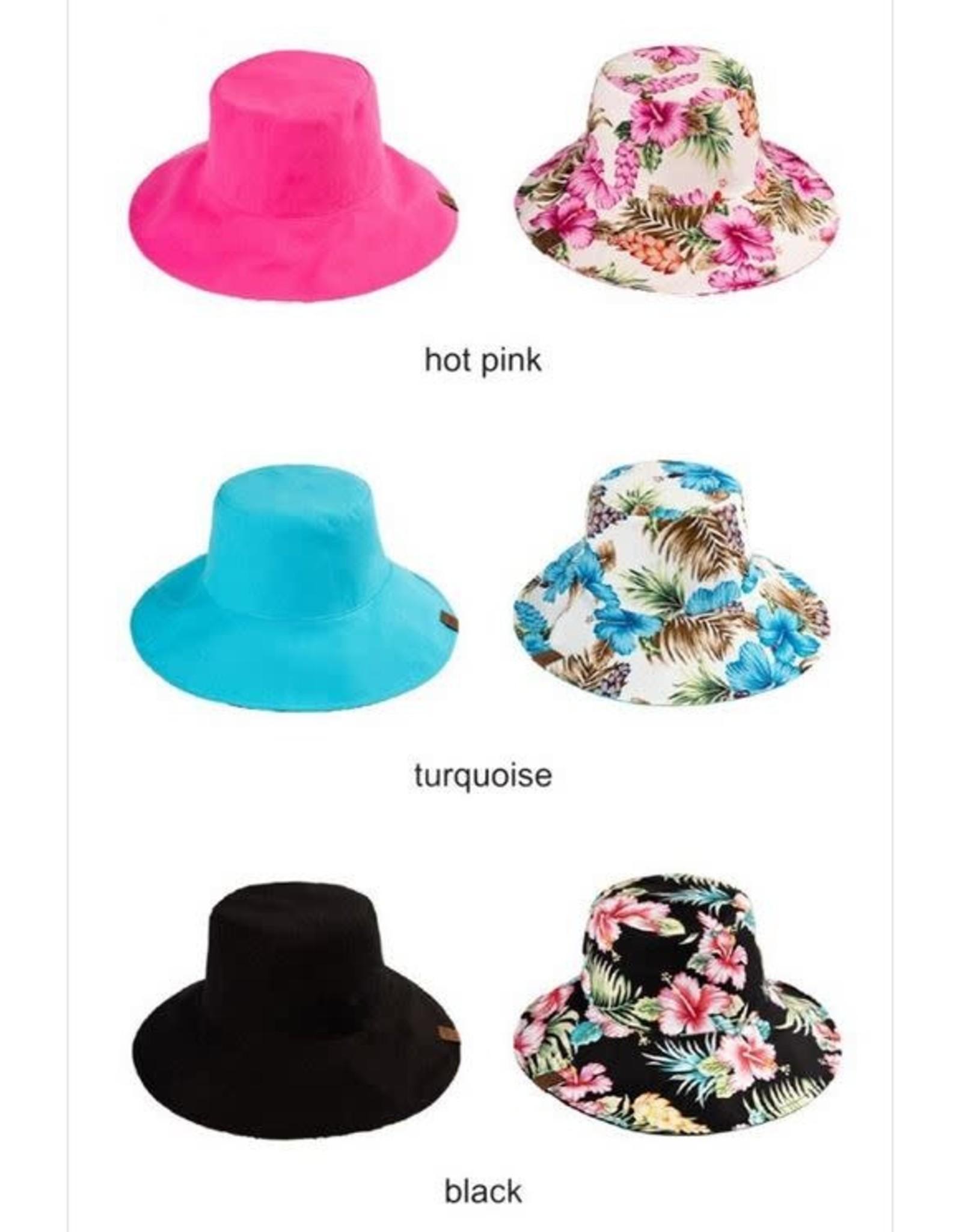 CC REVERSIBLE PONYTAIL BUCKET HAT