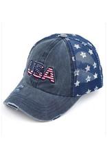 CC NAVY BASEBALL CAP WITH STAR PRINT MESH