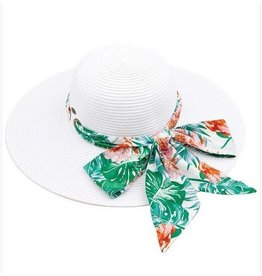 CC WHITE HAT WITH TROPICAL SASH