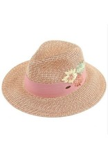 CC ROSE EMBROIDERED PANAMA HAT