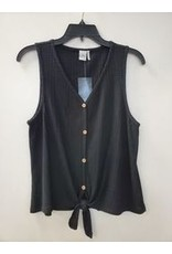PAPER CRANE BLACK BUTTON DOWN WAFFLE TIE FRONT TANK