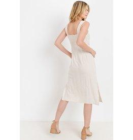 PAPER CRANE OATMEAL TIE FRONT LINEN DRESS