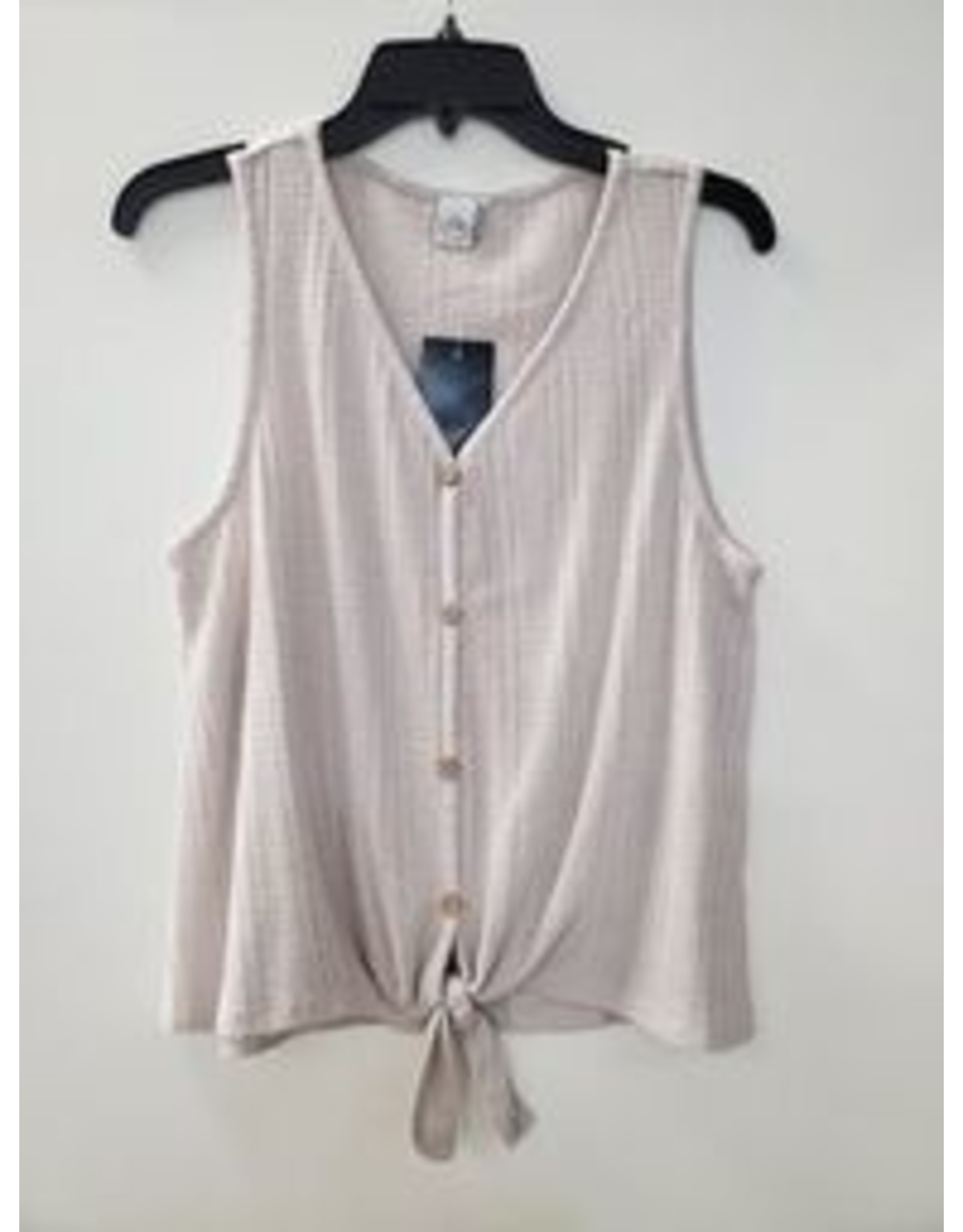 PAPER CRANE TAUPE BUTTON DOWN WAFFLE TIE FRONT TANK
