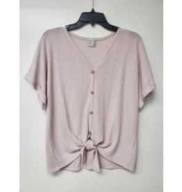 PAPER CRANE TAUPE WAFFLE DOLMAN TIE FRONT BUTTON DOWN
