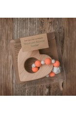 SWEETPEA AND CO WOOD AND RUST ORANGE SILICONE MINNESOTA BEAD TEETHER