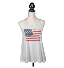 PARADE STREET PRODUCTS GREY FLAG PRINT RACEBACK TANK TOP