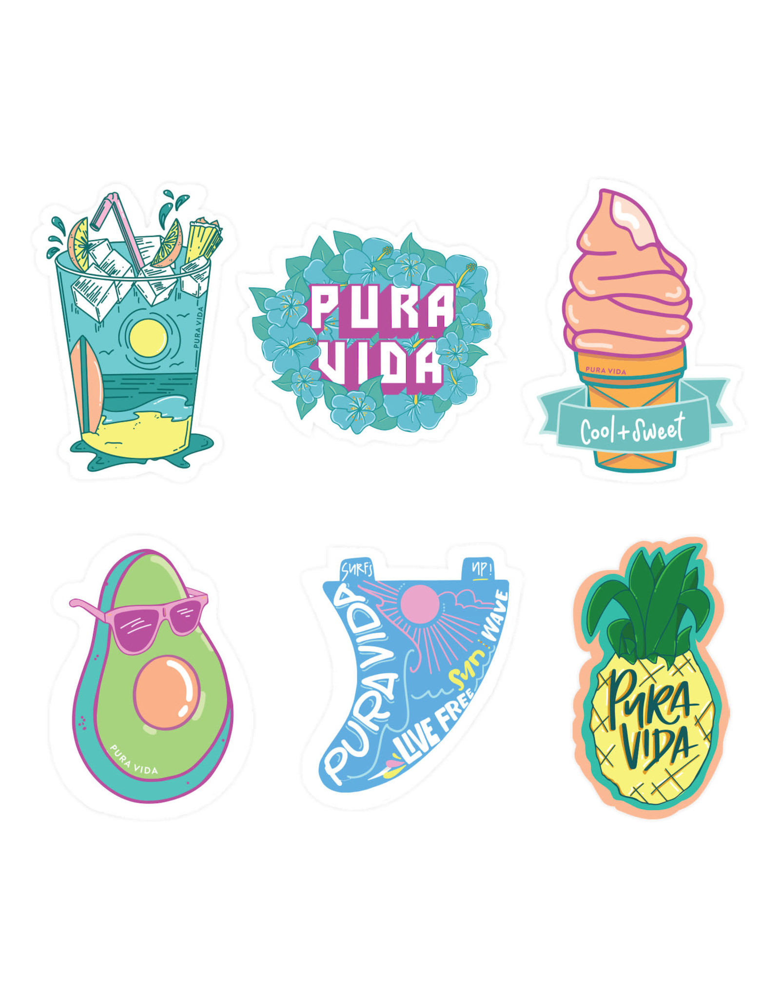 PURA VIDA 6 STICKER SHEET COOL AND SWEET