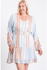 FAITH APPAREL MULTI STRIPED TIERED DRESS WITH RUFFLE AND SMOCK WAIST
