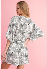FAITH APPAREL B/W FLORAL WRAP ROMPER WITH KIMONO SLEEVES AND SIDE TIE DETAIL