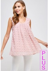 FAITH APPAREL DUSTY ROSE SWISS DOT SLEEVELESS TOP WITH LINING