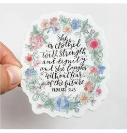 WILDFLOWER PAPER COMPANY CLOTHED IN STRENGTH FLORAL STICKER
