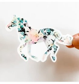 WILDFLOWER PAPER COMPANY HORSE BLACK FLORAL STICKER