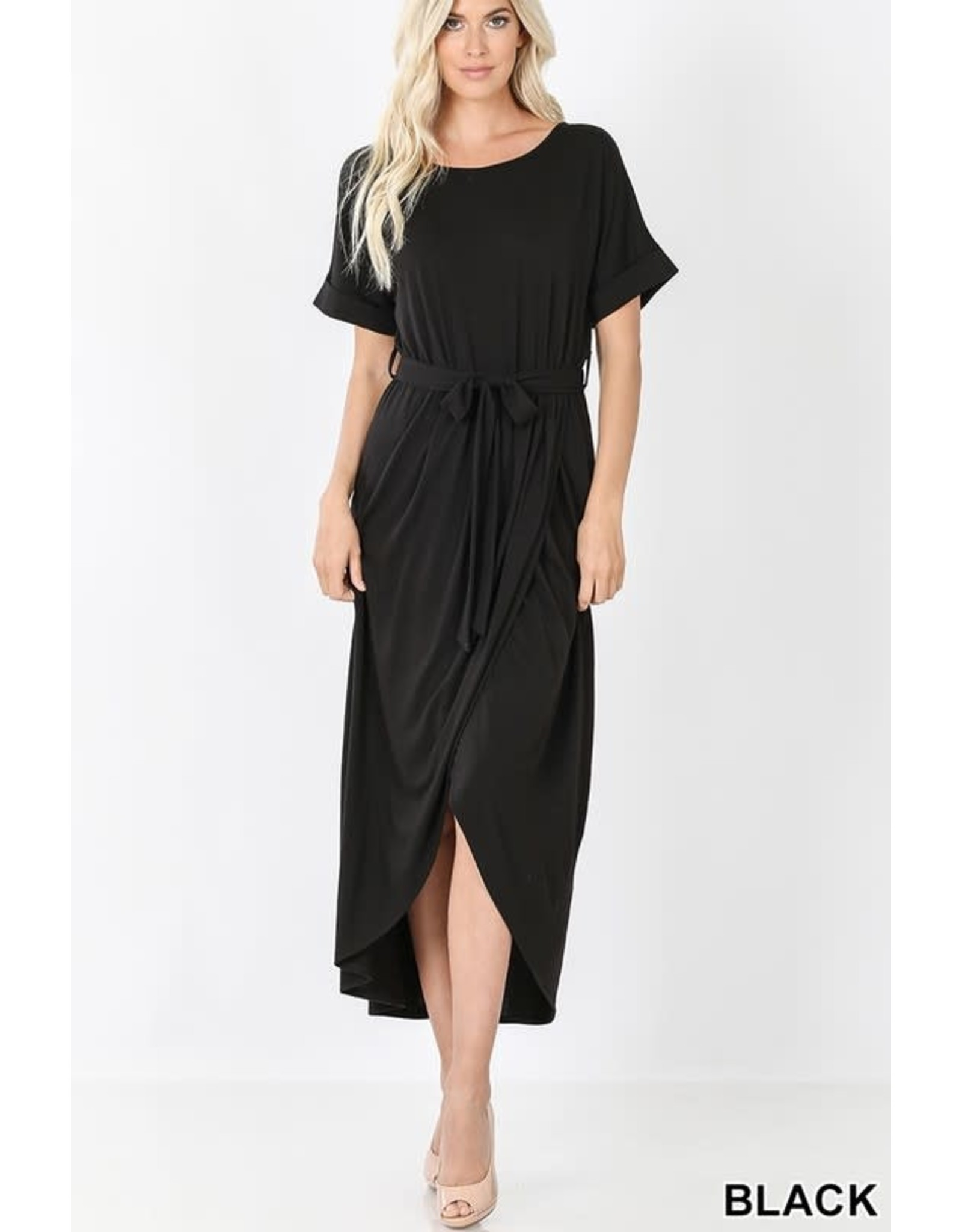 BLACK BELTED SHORT SLEEVE TULIP DRESS