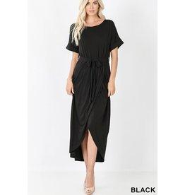 BLACK BELTED SHORT SLEEVE TULIP DRESS