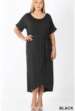 PLUS BLACK BELTED SHORT SLEEVE TULIP DRESS