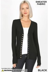 BLACK SNAP BUTTON SWEATER CARDIGAN WITH RIBBED DETAIL