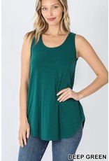 DEEP GREEN BASIC SOLID COLOR SLEEVELESS TANK