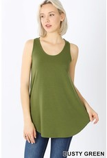 DUSTY GREEN BASIC SOLID COLOR SLEEVELESS TANK