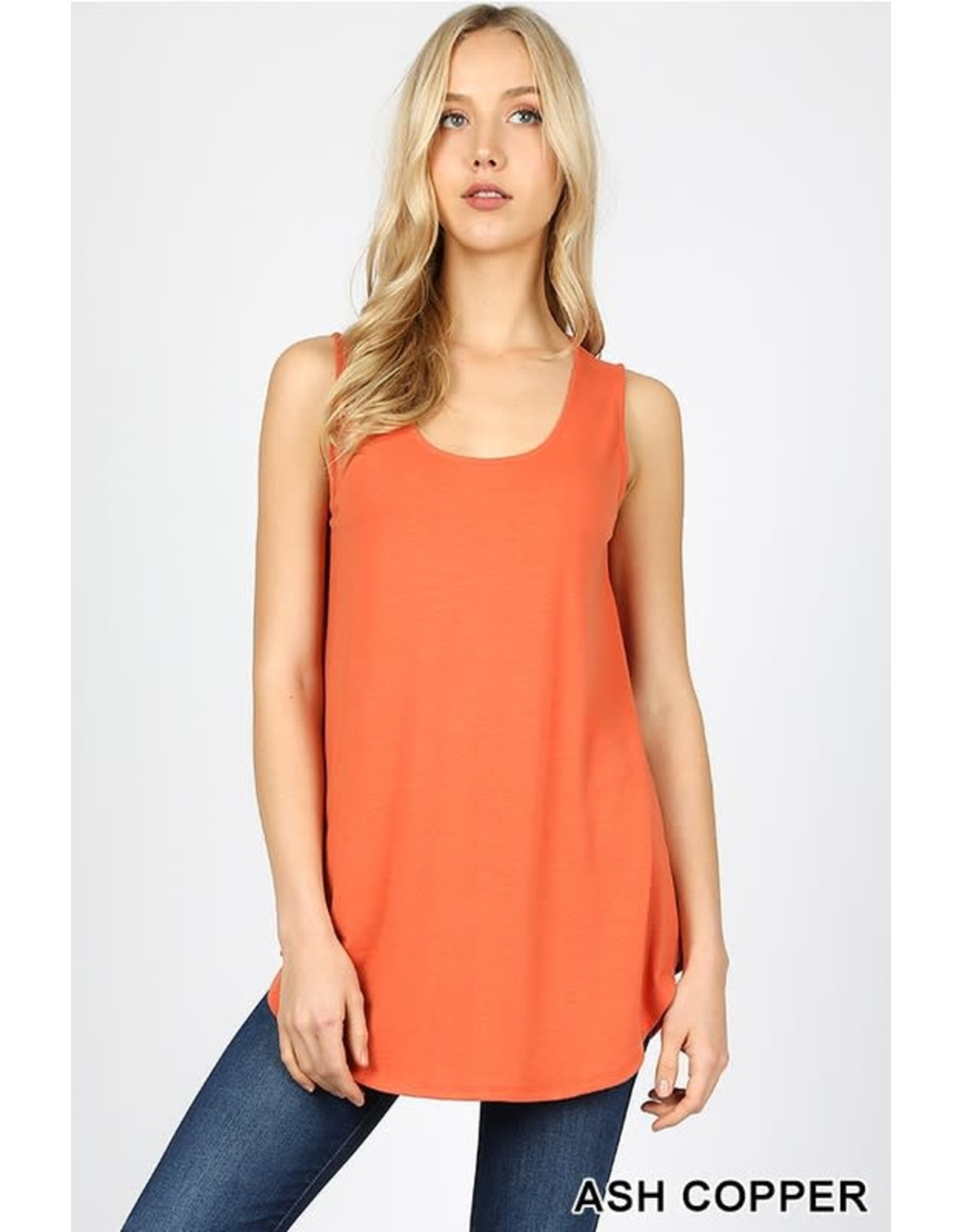 ASH COPPER BASIC SOLID COLOR SLEEVELESS TANK