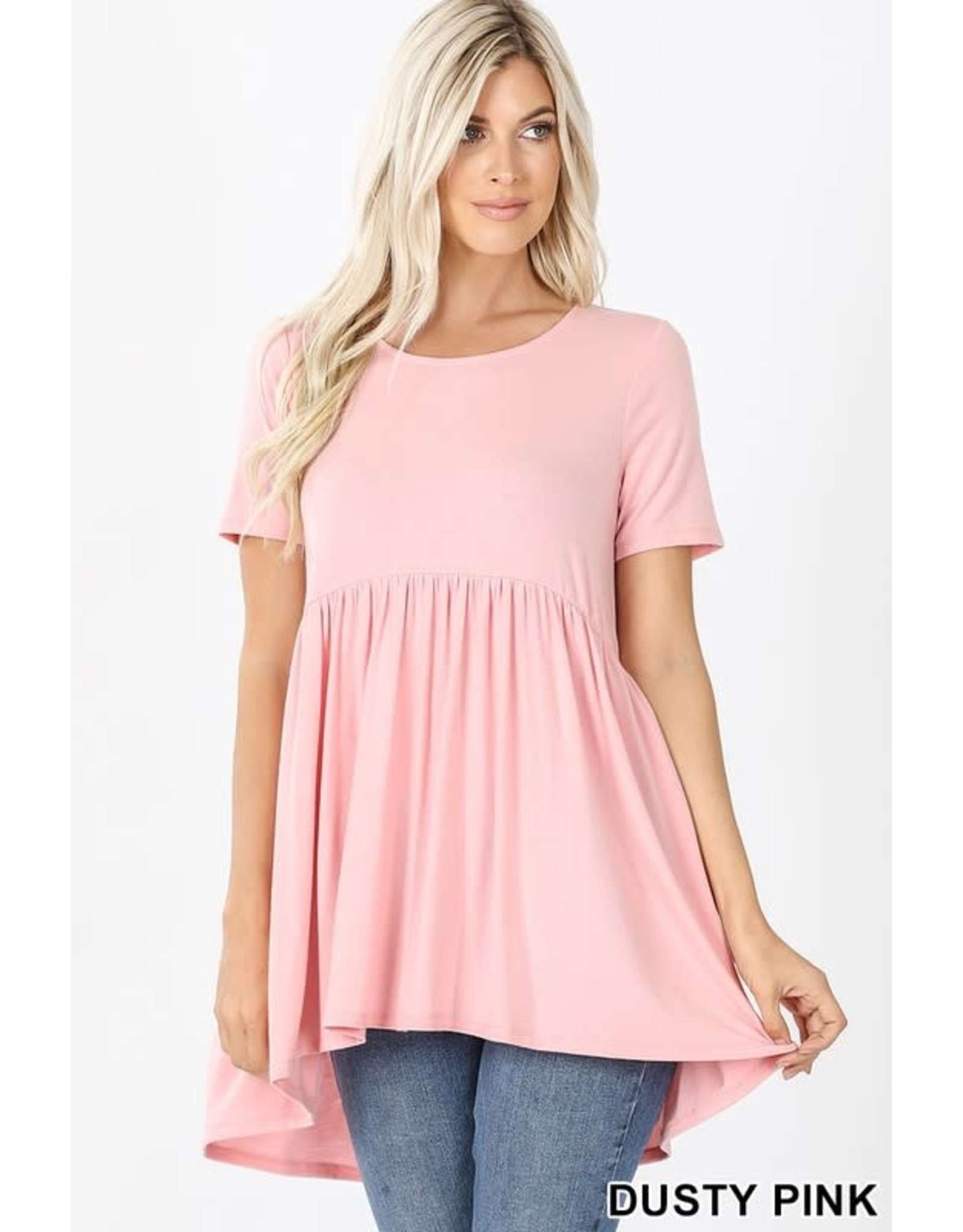 SHORT SLEEVE WAIST SHIRRING HI-LOW TOP