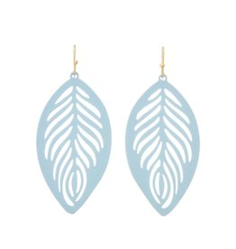 BABY BLUE COATED FILIGREE FEATHER EARRING