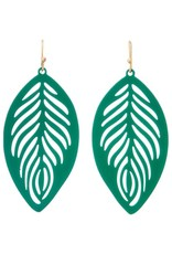 GREEN COATED FILIGREE FEATHER EARRING