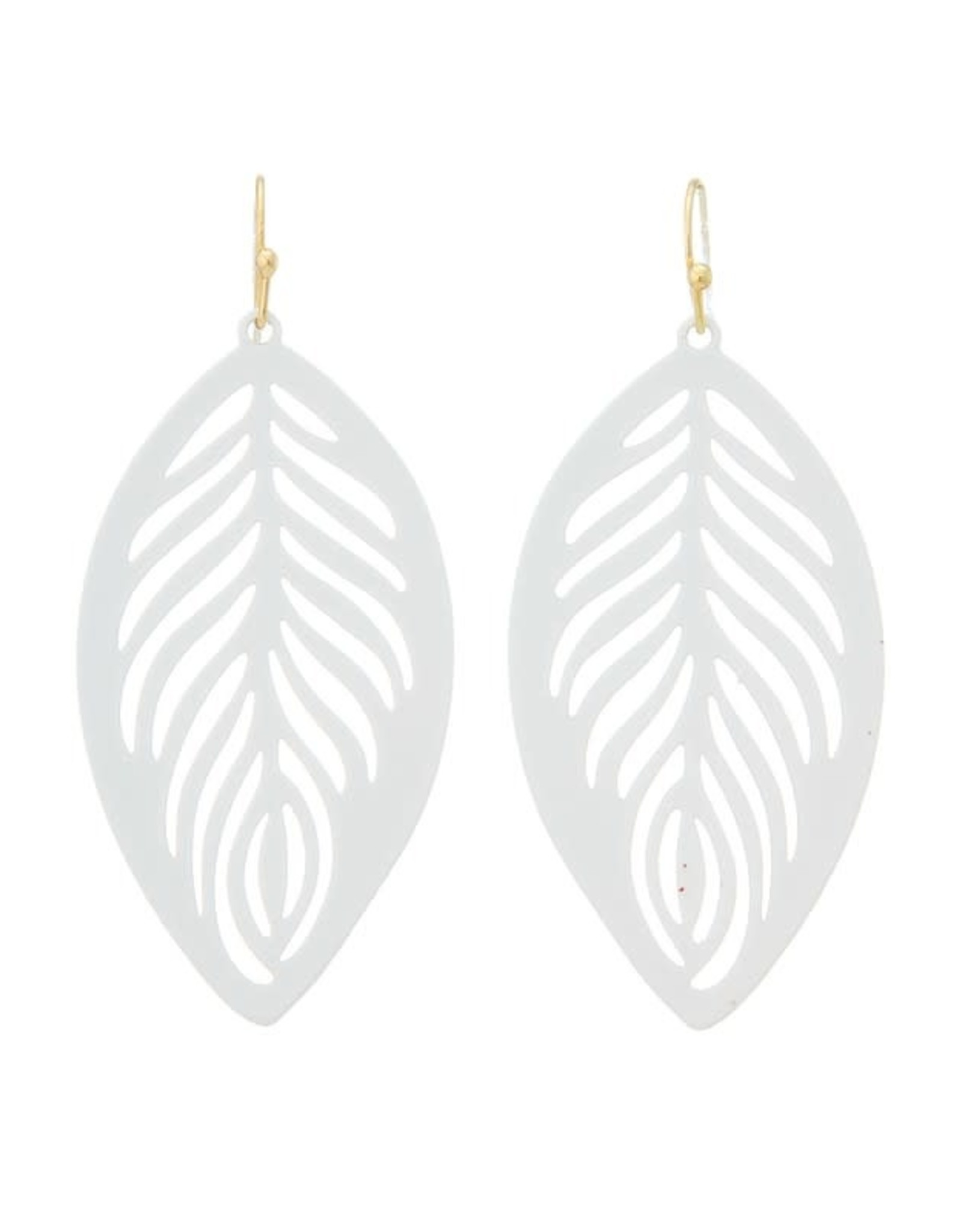 WHITE COATED FILIGREE FEATHER EARRING