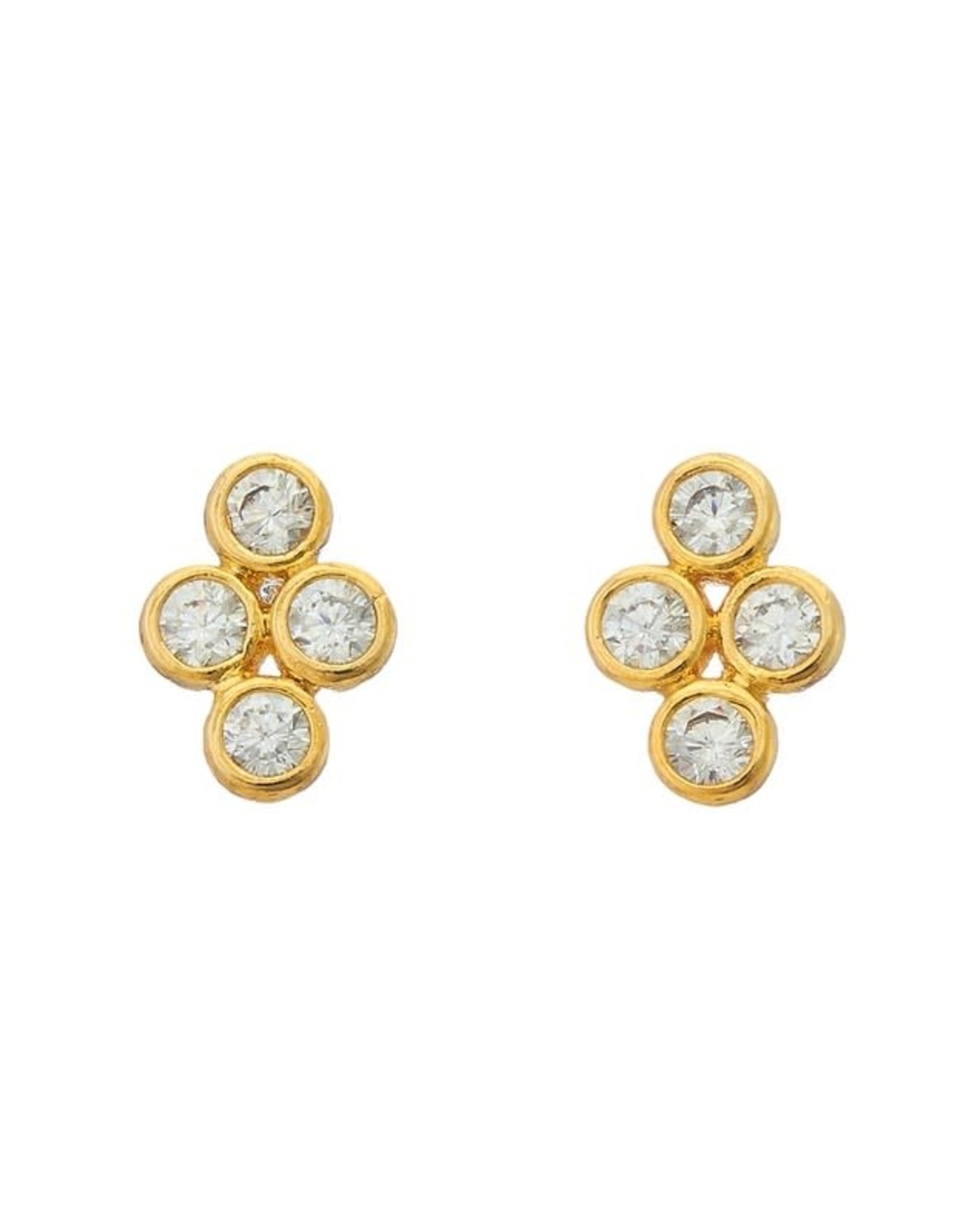 GOLD FOUR CZ STONE STUD EARRING