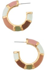 LT PINK ENAMEL COLOR BLOCK HOOP EARRING
