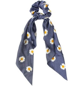 BLUE DAISY PRINT BOW SCRUNCHIE