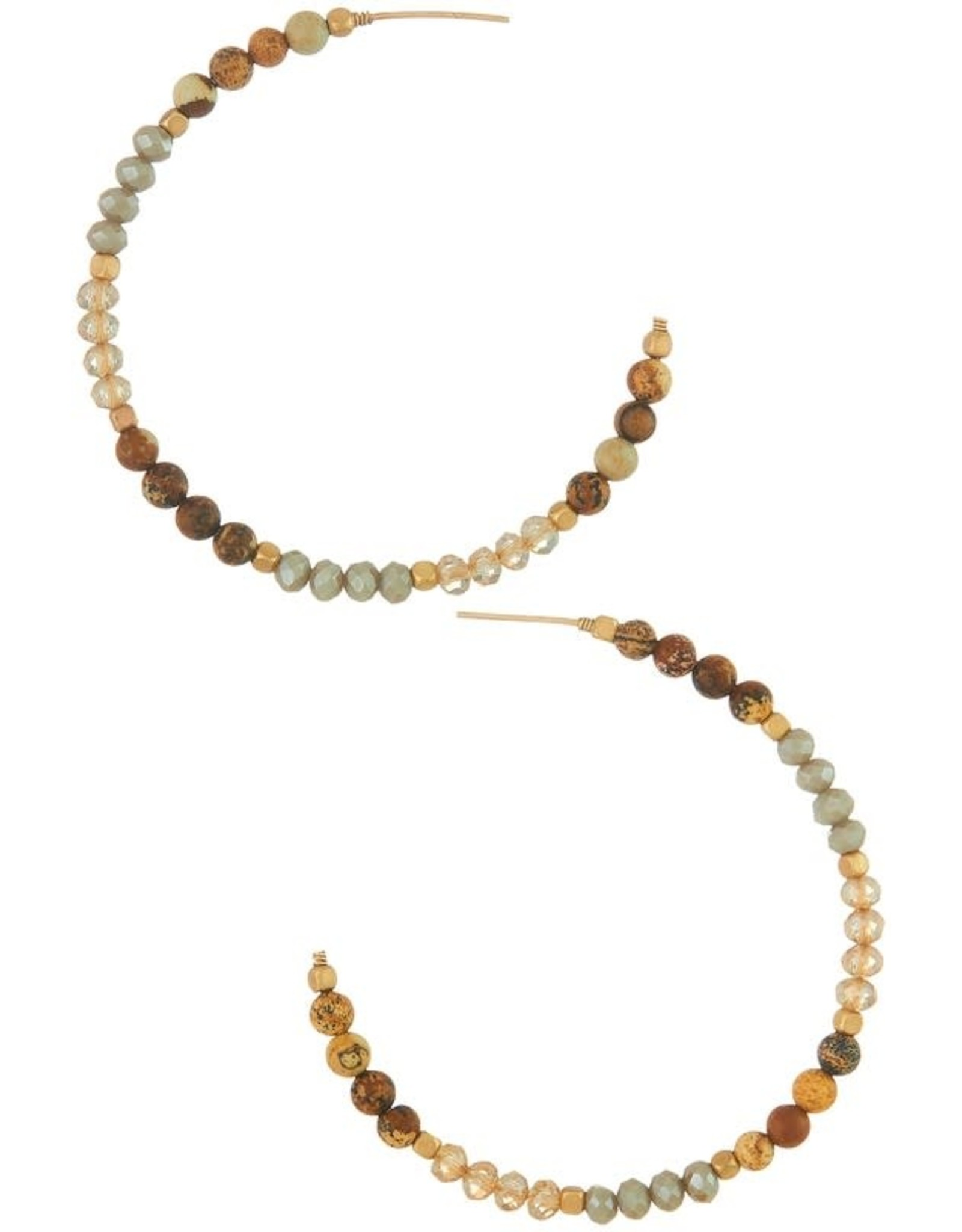 BROWN GLASS AND STONE BEAD OPEN HOOP EARRING