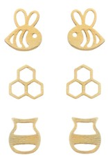 GOLD HONEY BEE EARRING SET OF 3